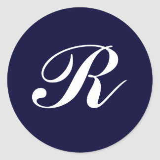 Monogram R, white script on navy blue Classic Round Sticker