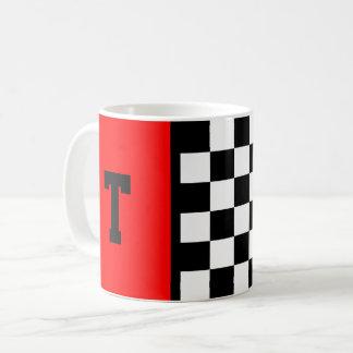 Monogram Race Car Checkered Pattern with Red 11 oz Coffee Mug