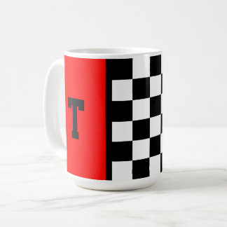 Monogram Race Car Chequered Pattern with Red 15 oz Coffee Mug