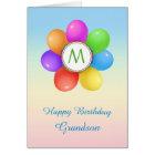 Monogram Rainbow balloons flower Grandson Birthday Card