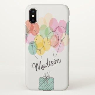 Monogram. Rainbow Balloons Illustration. iPhone X Case