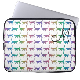 Monogram Rainbow Cats Animal Pattern Laptop Sleeve