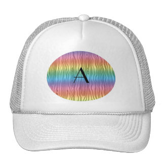 Monogram rainbow faux bois trucker hat