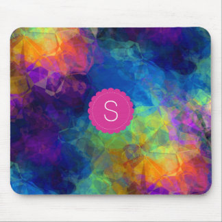 Monogram Rainbow Geologic Crystal Abstract Pattern Mouse Pad