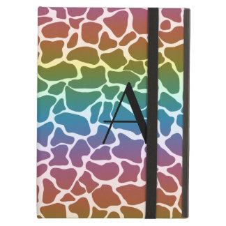 Monogram rainbow giraffe print iPad air cases