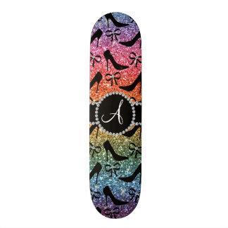 Monogram rainbow glitter black high heels bow skateboard