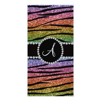 Monogram rainbow glitter zebra stripes circle photo card
