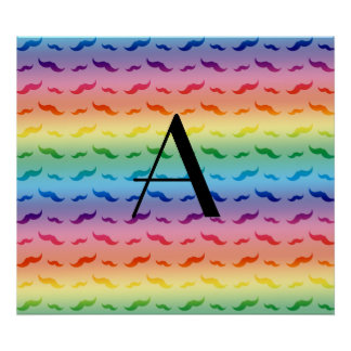 Monogram rainbow mustache pattern poster