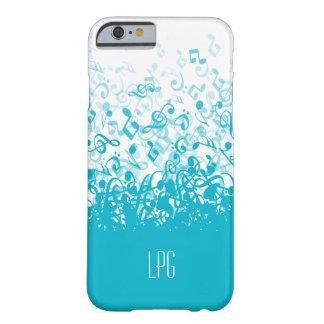 Monogram Raining Music Notes Aqua Barely There iPhone 6 Case
