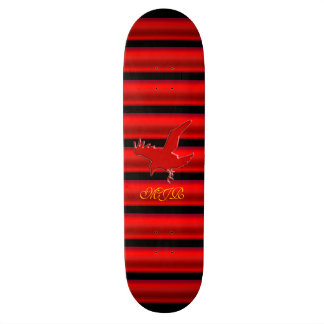 Monogram, Raven logo with red chrome-effect stripe Skate Deck