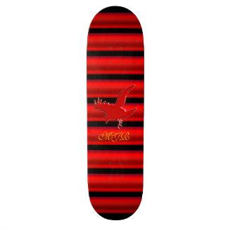 Monogram Raven logo with red chrome-effect stripe Skateboard Deck