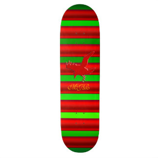 Monogram, Raven logo with red chrome-effect stripe Skateboard Deck