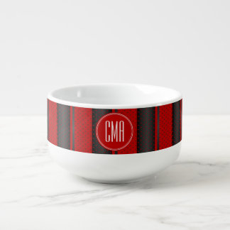 Monogram Red and Black Polka Dots Pattern Soup Bowl With Handle