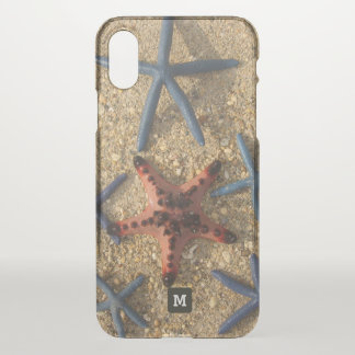 Monogram. Red and Blue Starfish on the Sand. iPhone X Case