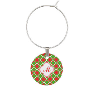 Monogram Red and Green Quatrefoil  Christmas Wine Charm