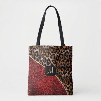 Monogram - Red and Leopard Pattern Tote Bag
