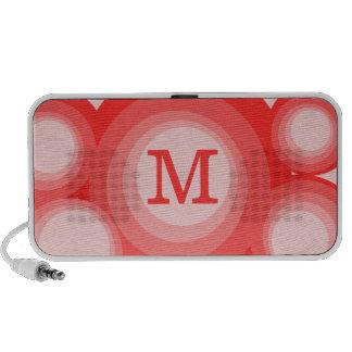 Monogram Red and Pink Circles iPhone Speaker