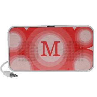 Monogram Red and Pink Circles iPhone Speaker