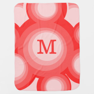 Monogram Red and Pink rings Baby Blankets