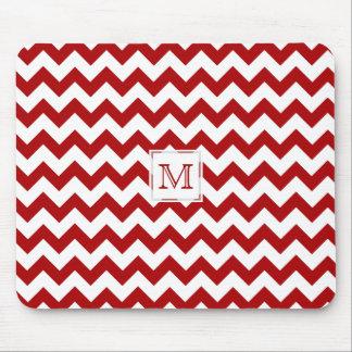 Monogram: Red And White Chevron Print Mousepad