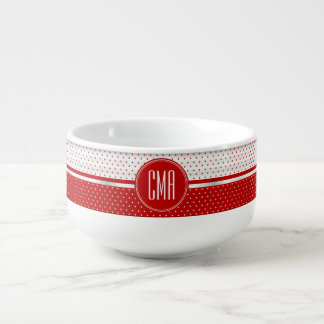 Monogram Red and White Polka Dots Pattern Soup Mug