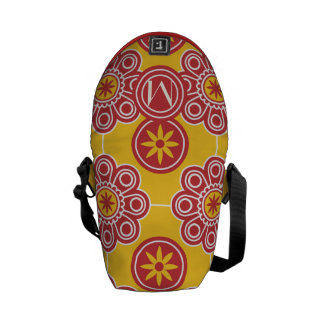 Monogram Red and Yellow Modern Floral Pattern Courier Bags