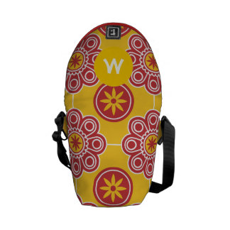 Monogram Red and Yellow Modern Floral Pattern Messenger Bags