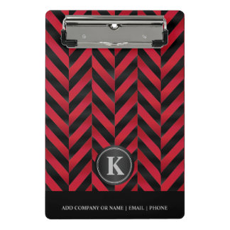 Monogram Red & Black Herringbone Pattern Mini Clipboard