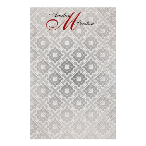 Monogram Red & Black Lace Wedding Stationery