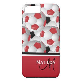 Monogram Red Black Soccer Ball Pattern iPhone 7 Plus Case