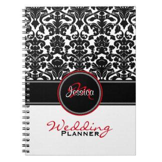 Monogram Red Black White Damask Wedding Planner Spiral Note Book