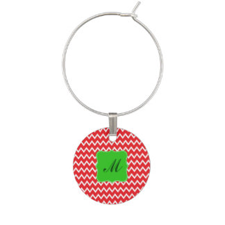 Monogram Red Chevron Pattern with Green Christmas Wine Charm