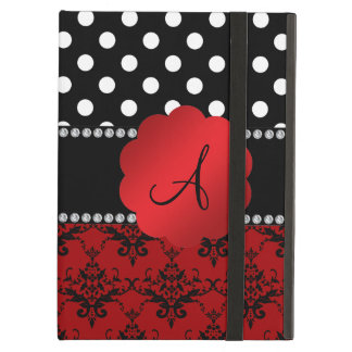 Monogram red damask black polka dots case for iPad air