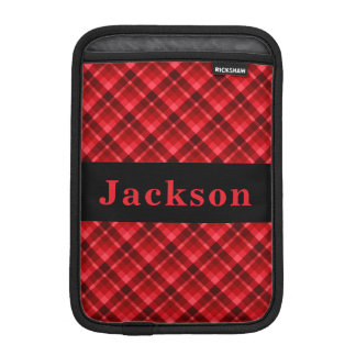 Monogram Red Diagonal Plaid iPad Mini Sleeve