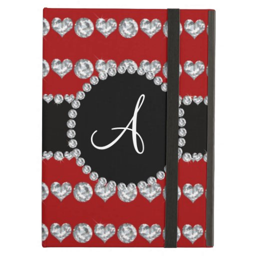 Monogram red diamond hearts stripes cover for iPad air