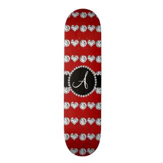 Monogram red diamond hearts stripes custom skateboard