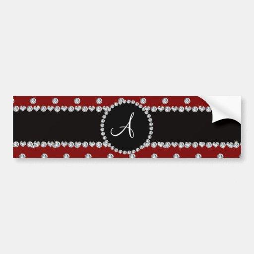 Monogram red diamonds polka dots bumper sticker