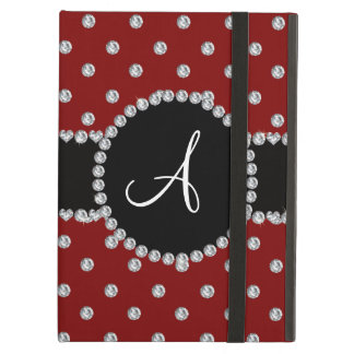Monogram red diamonds polka dots case for iPad air