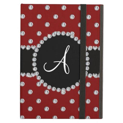 Monogram red diamonds polka dots case for iPad air