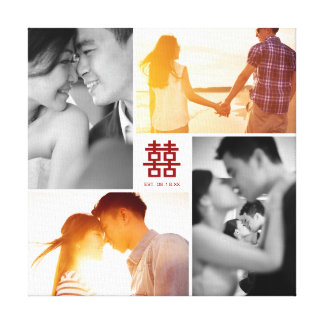 Monogram Red Double Happiness Photo Collage Canvas Canvas Print