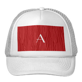 Monogram red faux bois trucker hat