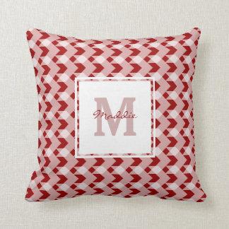 Monogram, red gingham chevron, personalise w name throw pillow
