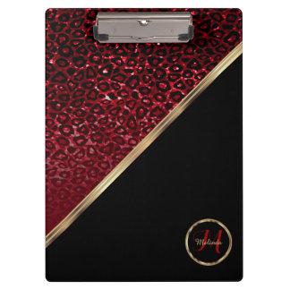 Monogram Red Glitter Leopard Pattern Clipboard