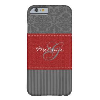 Monogram Red, Gray Damask Stripe iPhone 6 case