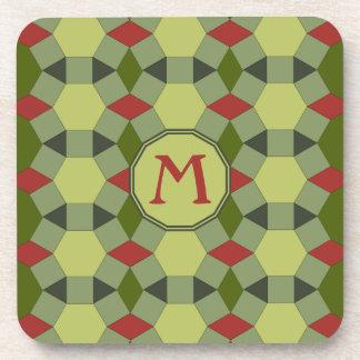 Monogram red green grey tiles coaster