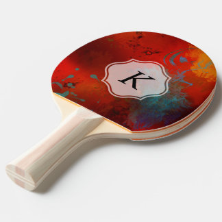 Monogram Red Grunge Digital Abstract Art Ping Pong Paddle