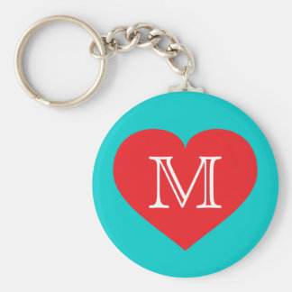 Monogram red heart key ring