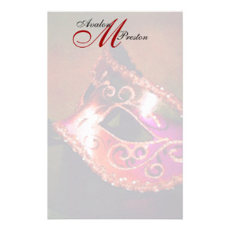 Monogram Red Masquerade Wedding Stationery