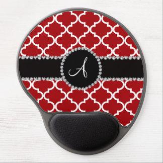 Monogram red moroccan quatrefoil gel mouse pad