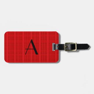 Monogram red plaid bag tag